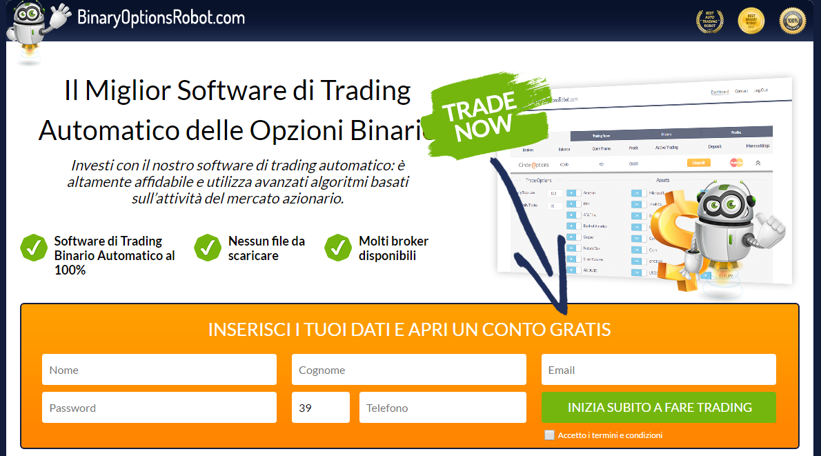 binaryoptionrobot-software di trading automatico