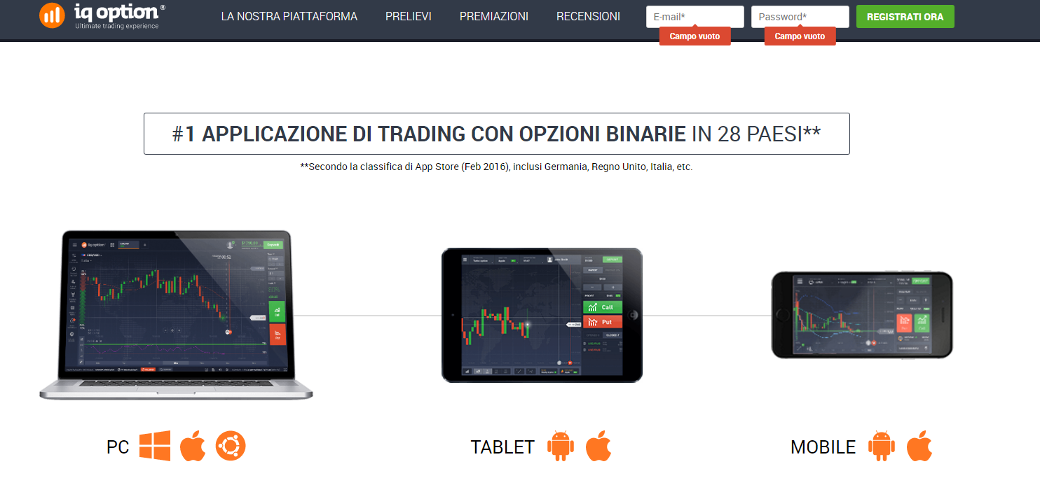 IQ Option piattaforma