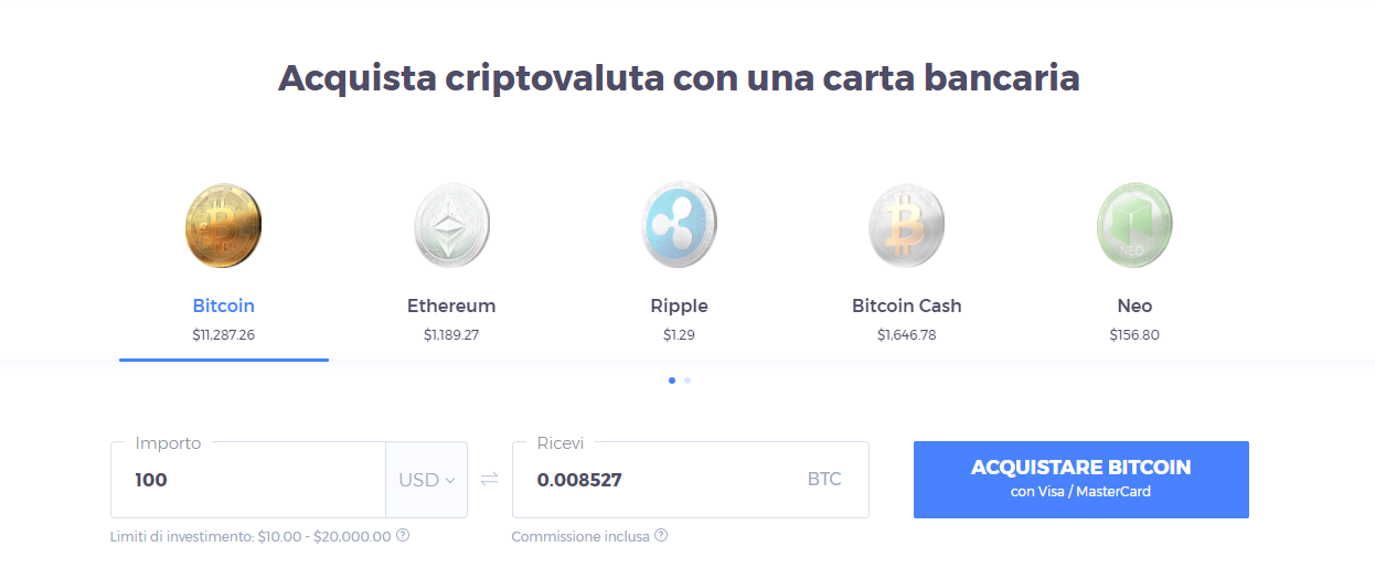 aquisto bitcoin con carta iq option